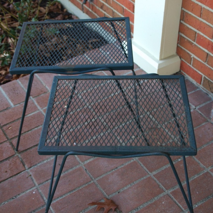 Pair Of Mid Century Cast Iron And Mesh Outdoor Side Tables Ebth