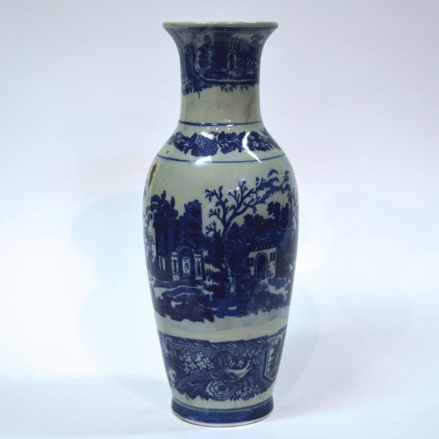 Tall Blue And White Victoria Ware Ironstone Vase Ebth