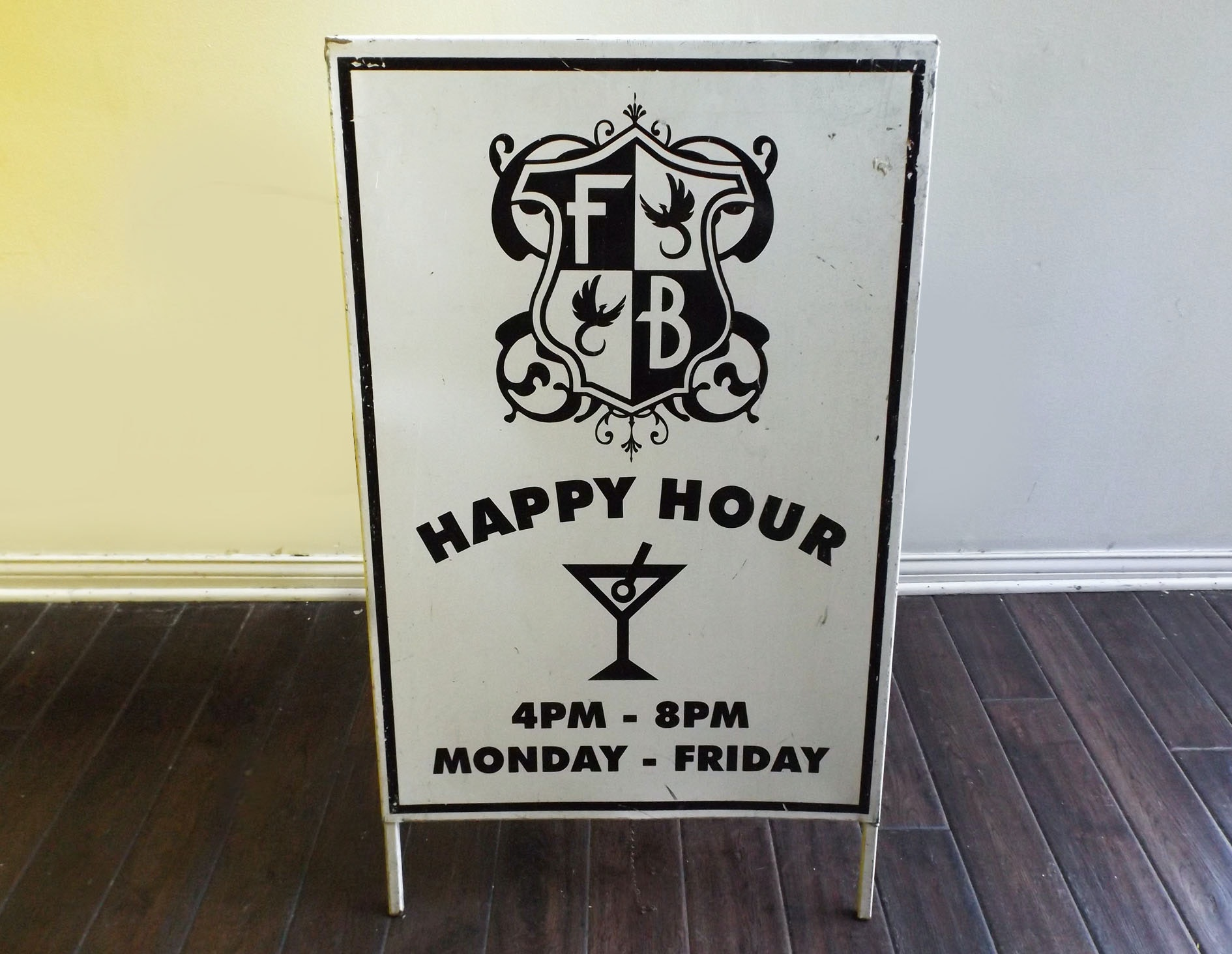 FB Painted Metal 'Happy Hour' Easel Sign