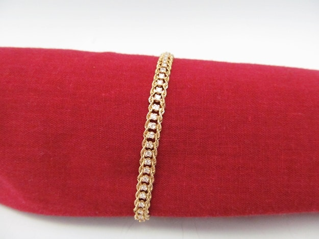 Double Rope 14k Yellow Gold & Diamond Tennis Bracelet