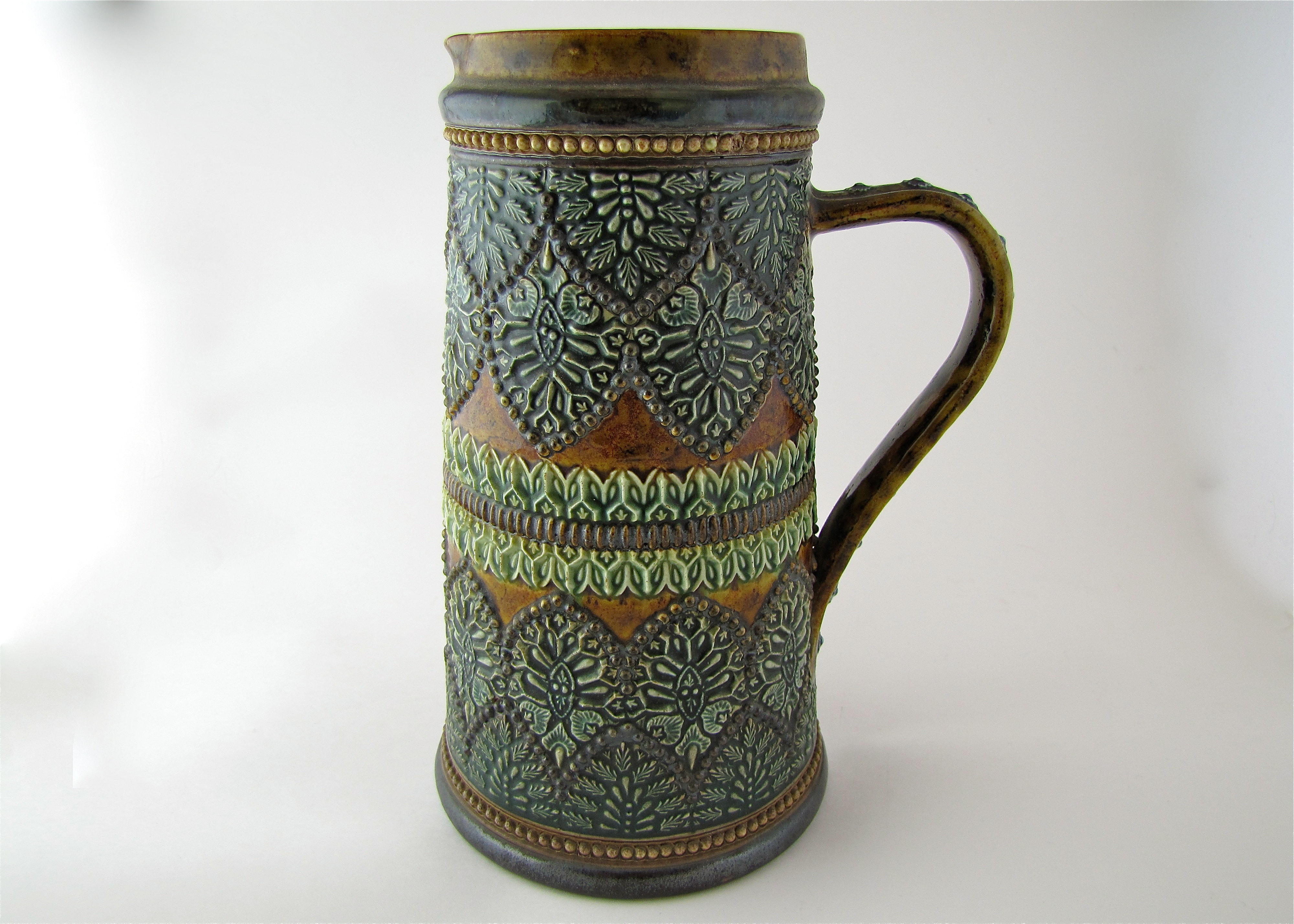 1800's Doulton Lambeth Lemonade Pitcher Signed And Marked By Emma Schute 1882