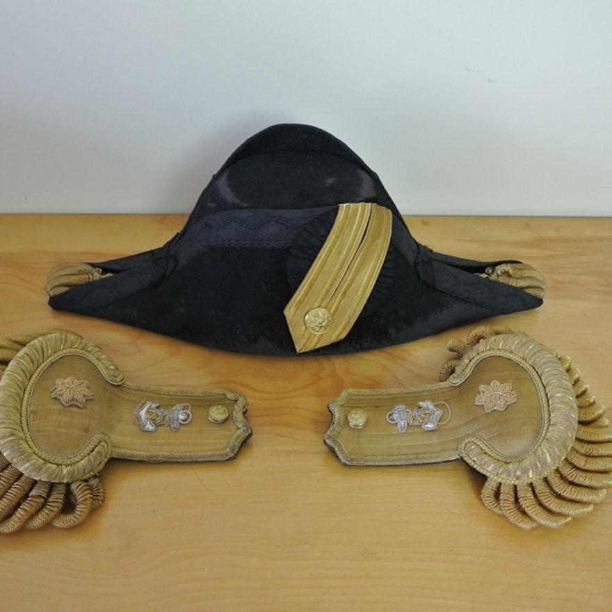 US Navy Officer's Bicorn Hat and Epauletts 1898