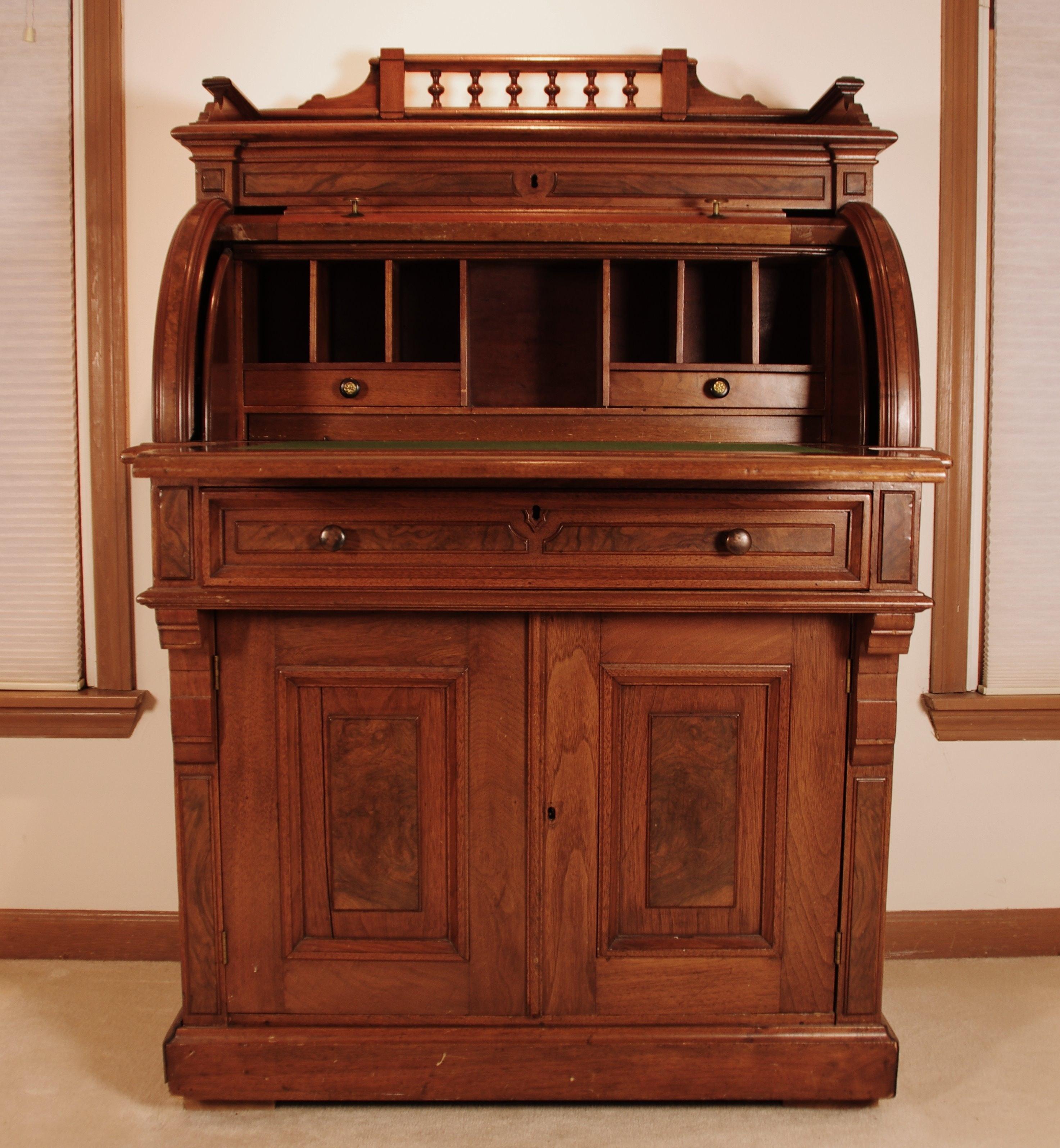 Victorian Renaissance Revival Cylinder Desk Circa 1865-75