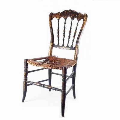 A Darling Antique Youth Chair in Chinoiserie Decoration, Needing Restoration - Vintage Chairs, Antique Chairs And Retro Chairs Auction In Mount
