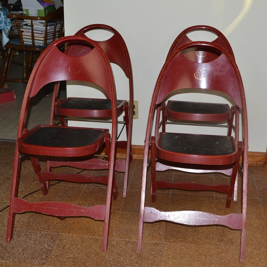 Four Vintage Wooden Folding Chairs