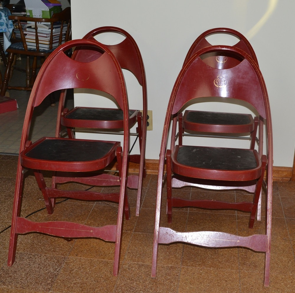 Four Vintage Wooden Folding Chairs ...