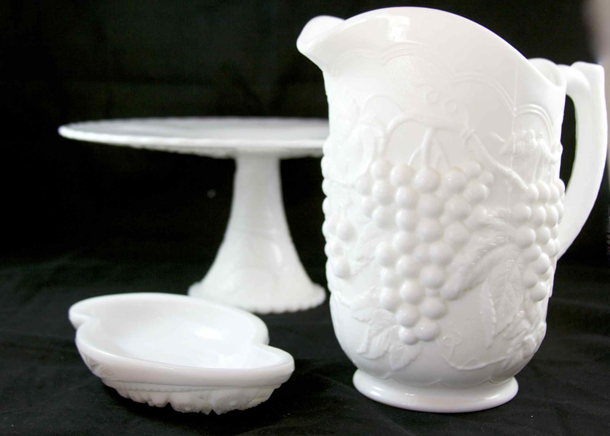 White Ceramic Pitcher, Cake Stand and Candy Dish