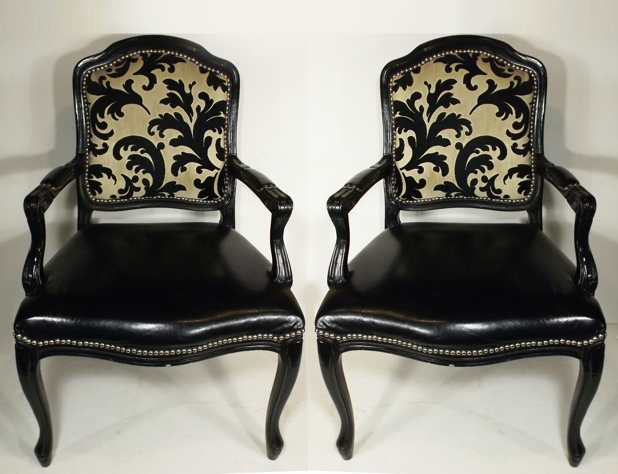 Black Painted Fauteuils in FB Signature Upholstery