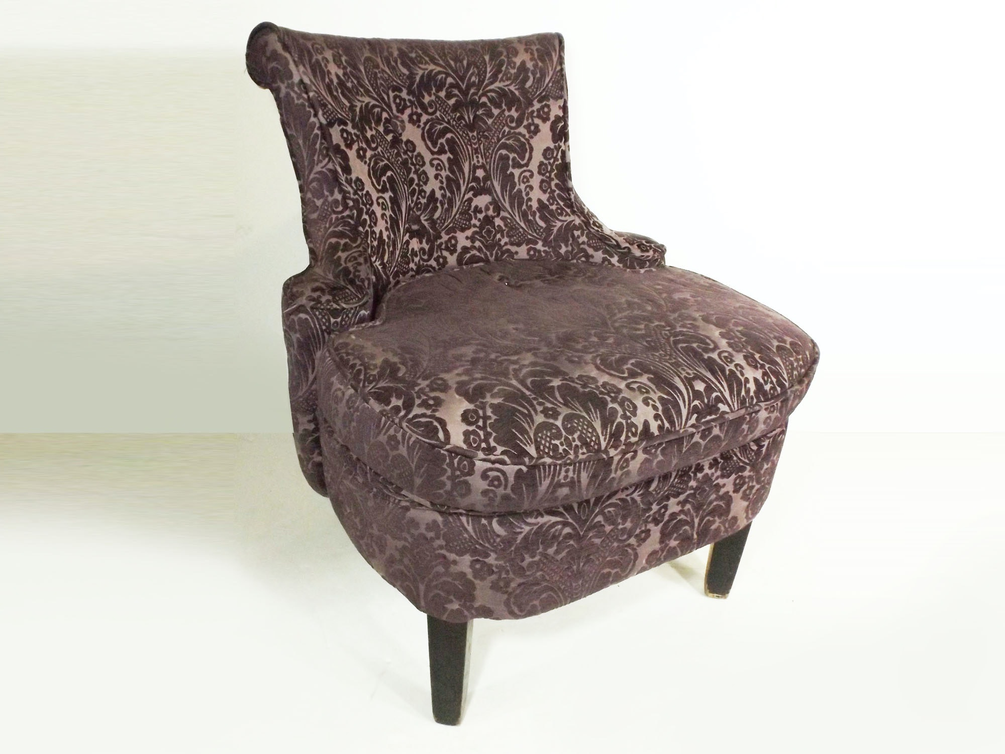 Chic French Style Chair in Eggplant Damask