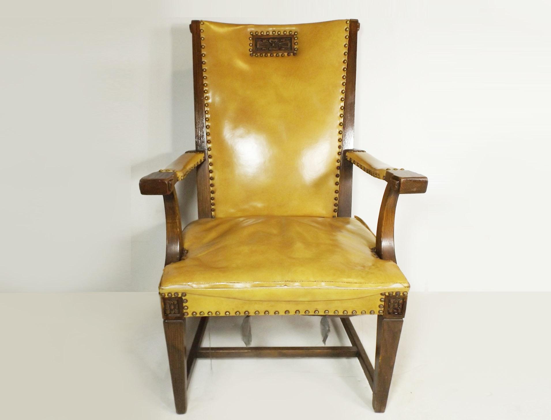 Vintage Glazed Leather Upholstered Oak Chair