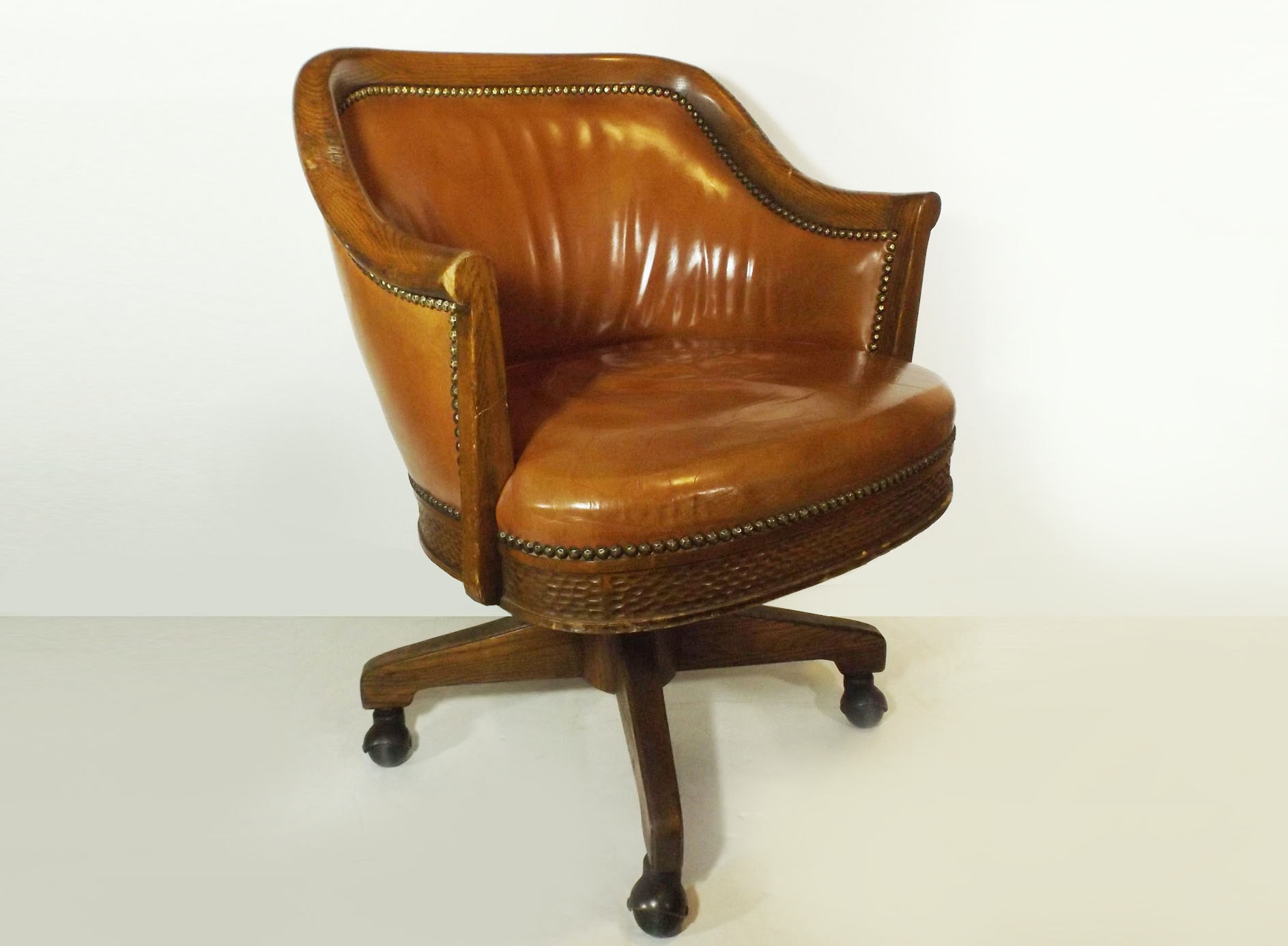 Vintage Romweber Glazed Leather Upholstered Oak Chair