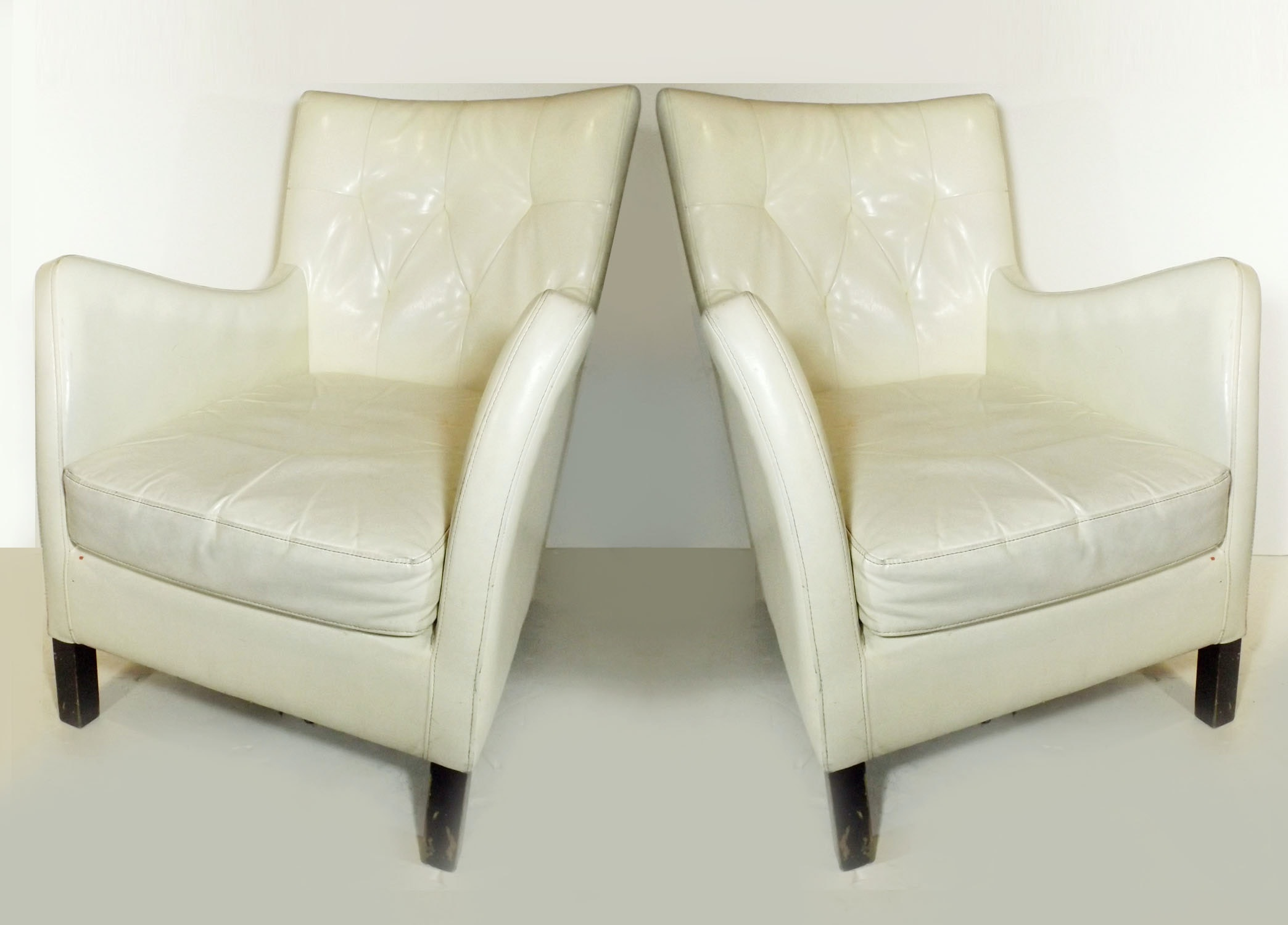 Pair of Mod White Faux Leather Armchairs