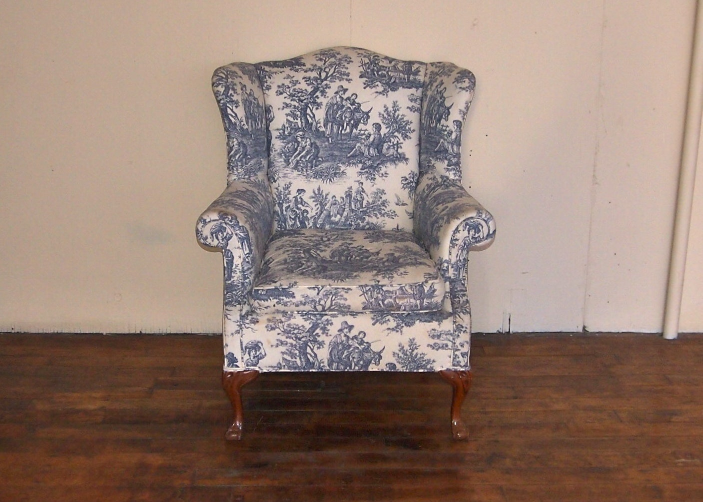 Genial Blue French Toile Wingback Chair And Two Matching Curtains ...
