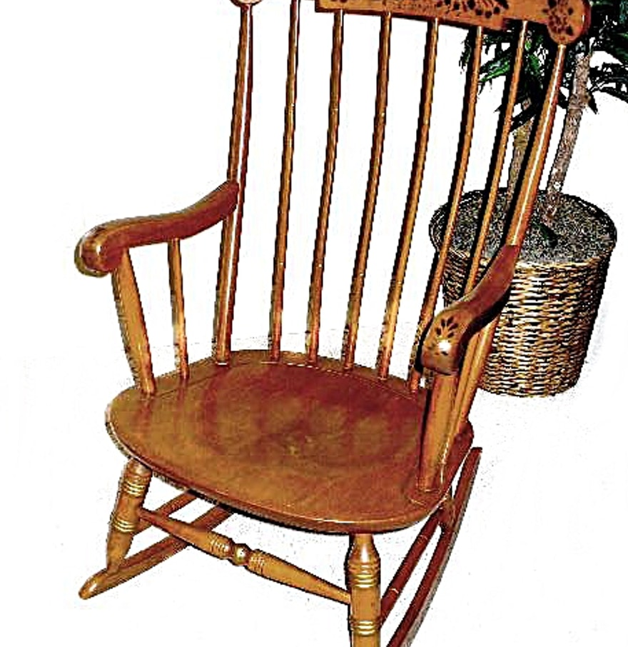 Solid Maple Rocking Chair with Stenciled Design on Toprail : EBTH