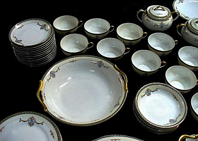 "Noritake 69–Piece Partial Set of Formal Bone China in the ""Laureate"" Pattern"