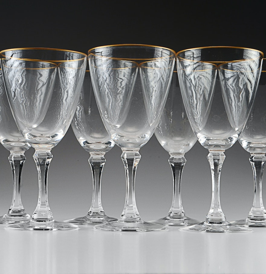 Set of seven lenox crystal wine glasses ebth - Lenox gold rimmed wine glasses ...