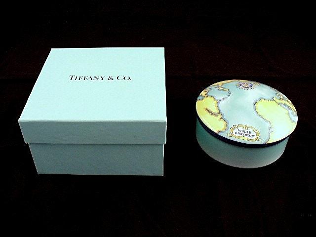 "Tiffany & Co. ""World Discovery"" Dresser Box in Aqua Ceramic with Tiffany Box"