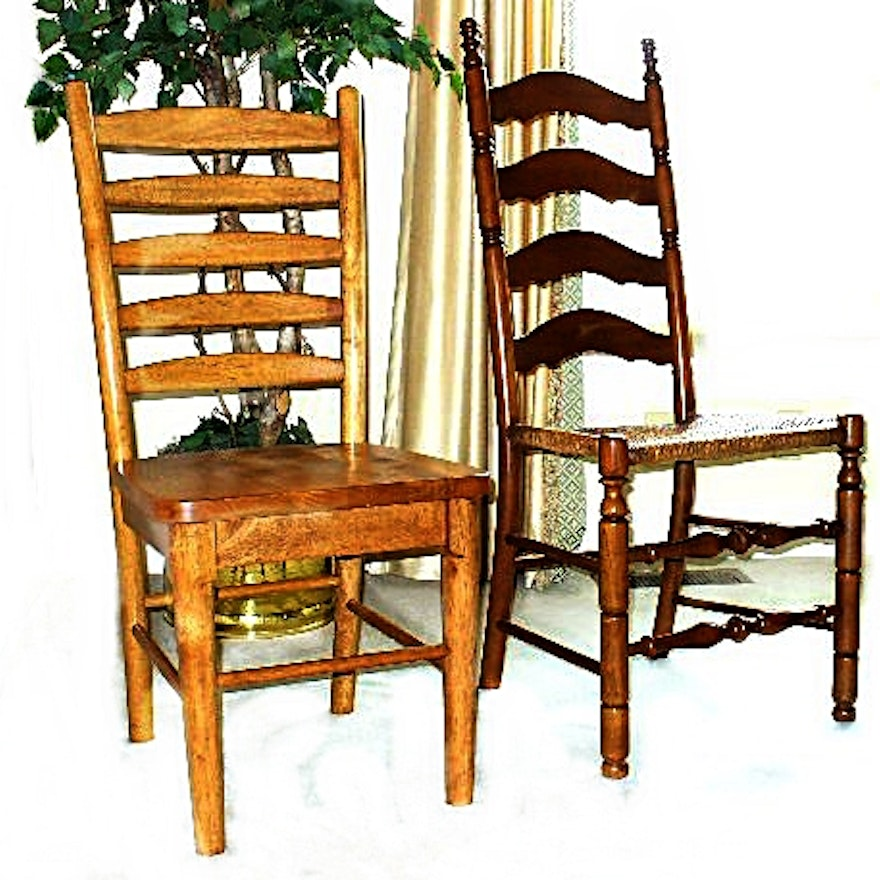 two ladderback wood chairs one library chair one side chair with a