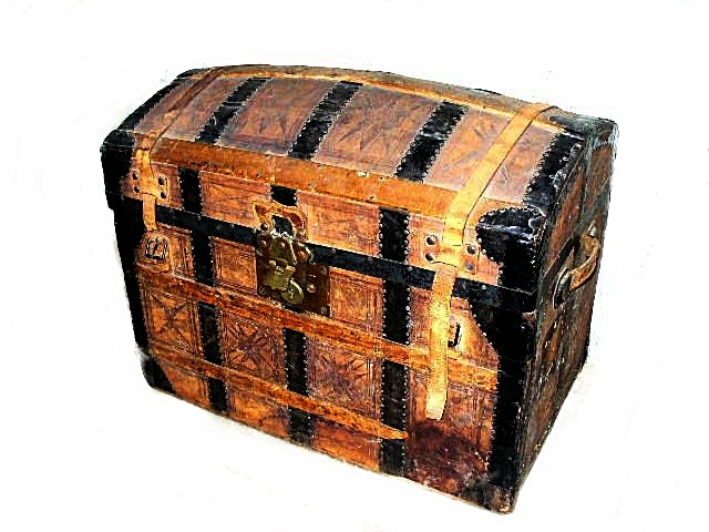 Antique Camelback Wooden Steamer Trunk With Metal Banding And