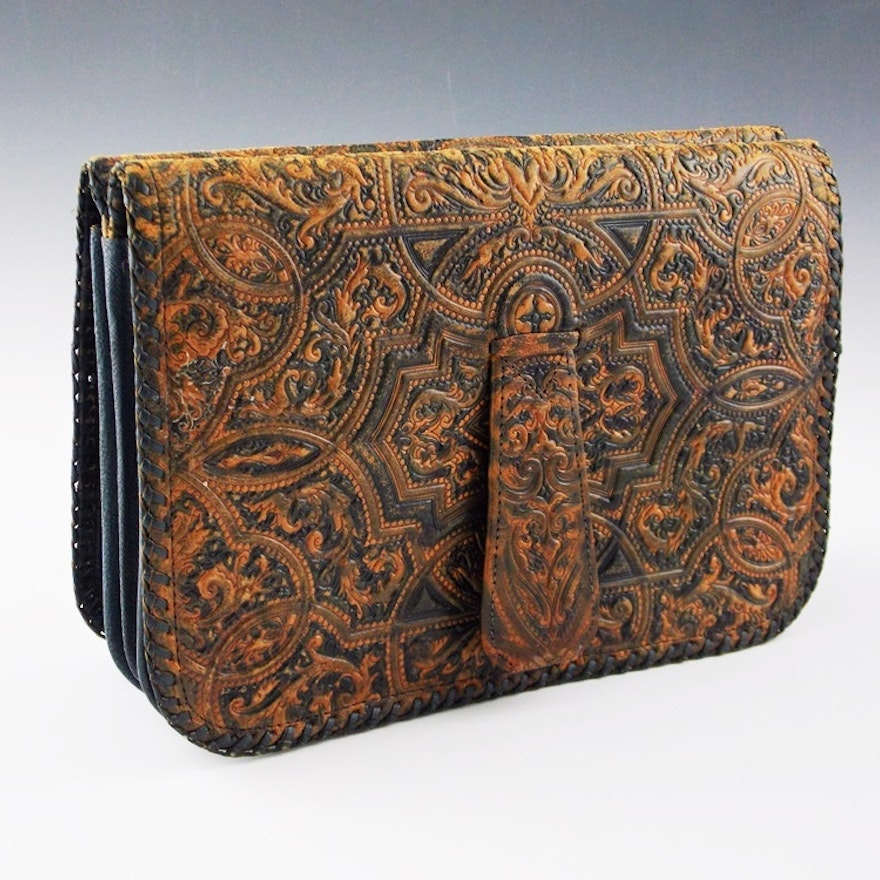 73328ca1ca55 A Very Pleasing Vintage Italian Embossed Leather Clutch in Blue and Camel  ...