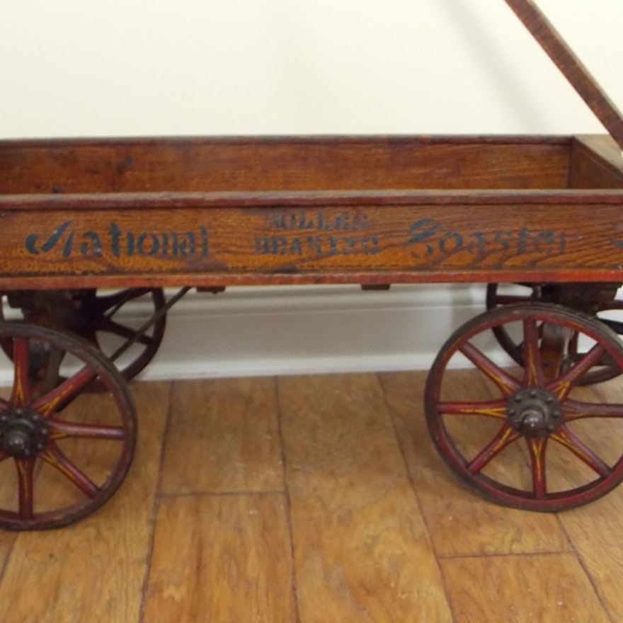 Spectacular Early 1900s Childs Pull Wood Wagon