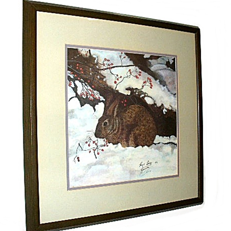 Signed Limited Edition Lithograph by Roy E  Boone, Wild Rabbit in a Winter  Wood