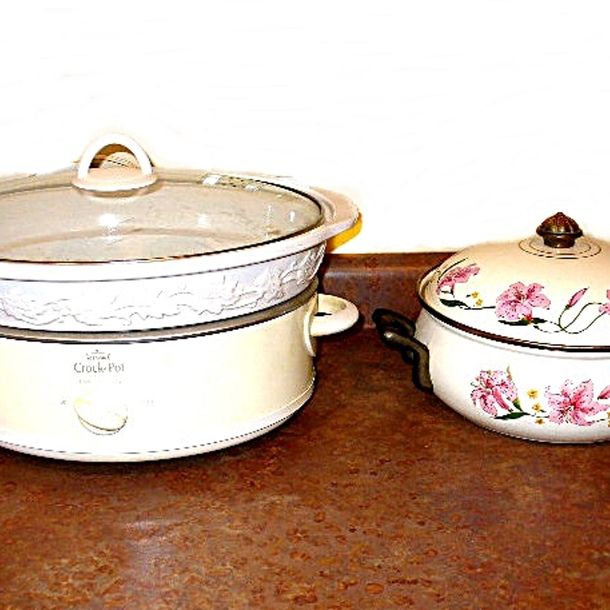 Decorative Rival Crock Pot And Normandy Enameled Casserole Ebth