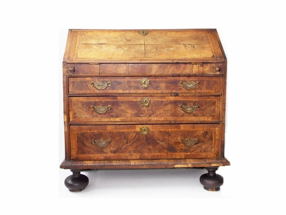 A Spendid 18th Century Walnut Slant Front William and Mary Desk From Clossons