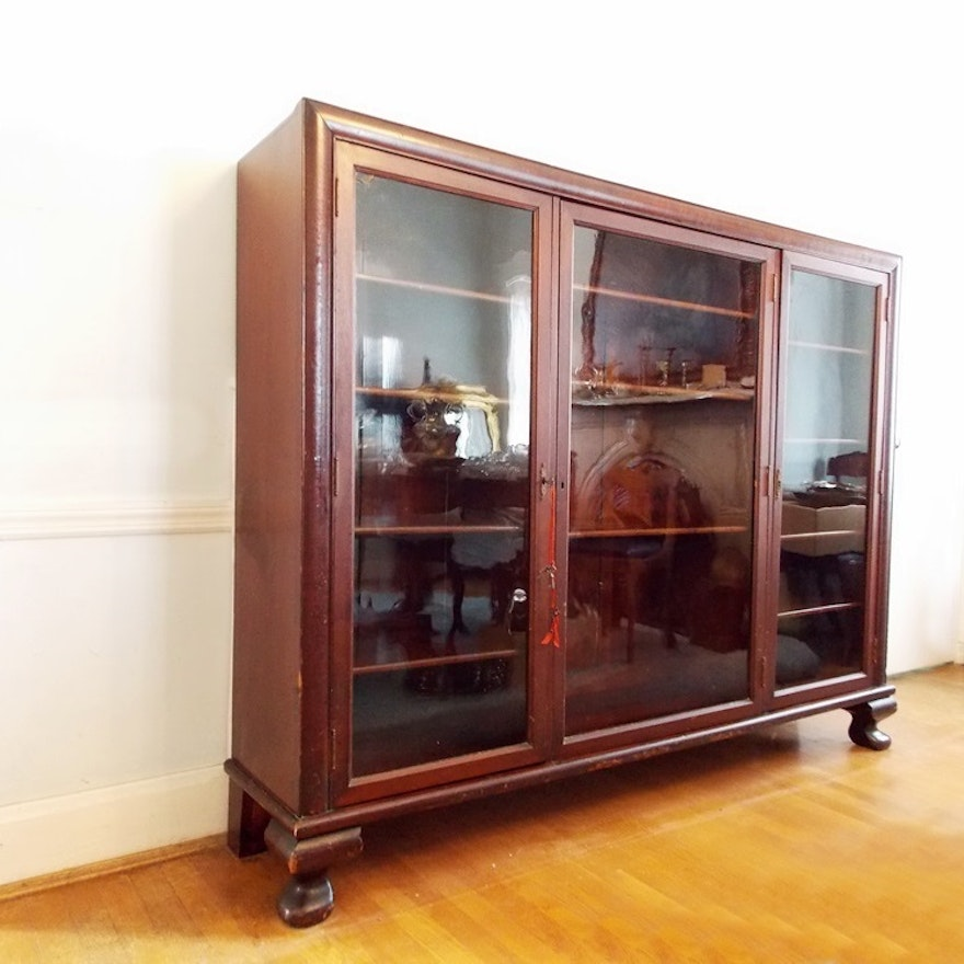 An Antique Mahogany China Cabinet with Three Glass Doors and Ample Display  Space ... - An Antique Mahogany China Cabinet With Three Glass Doors And Ample