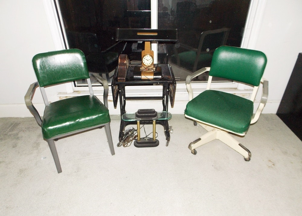 Very Cool Retro Office Chairs, Table And Clock Lamp