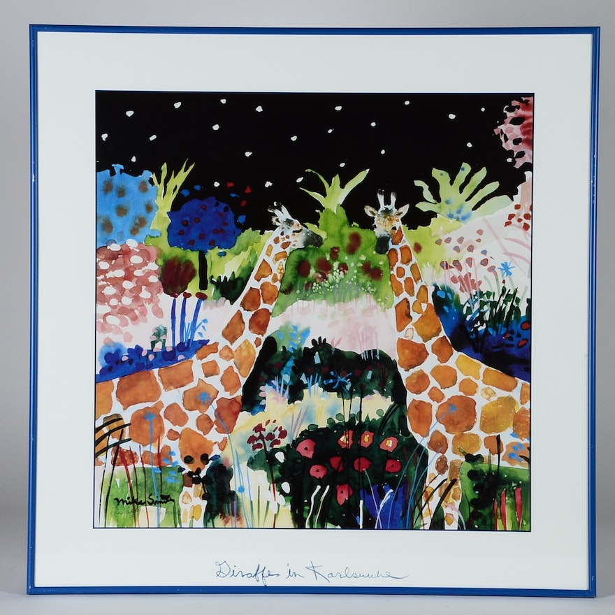Framed Mike Smith Lion and Giraffe LIthograph : EBTH