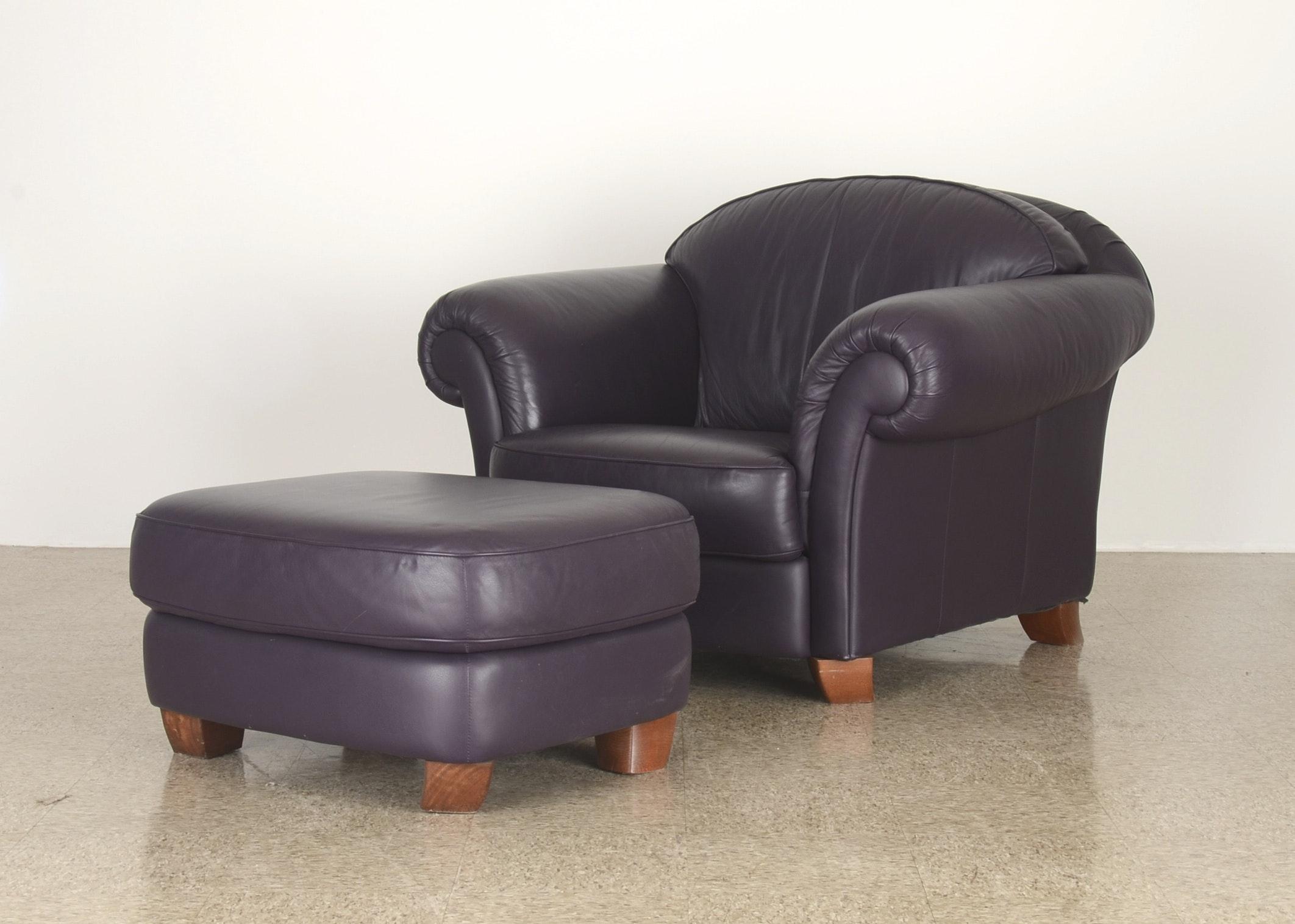 Natuzzi Italian Leather Chair With Ottoman ...
