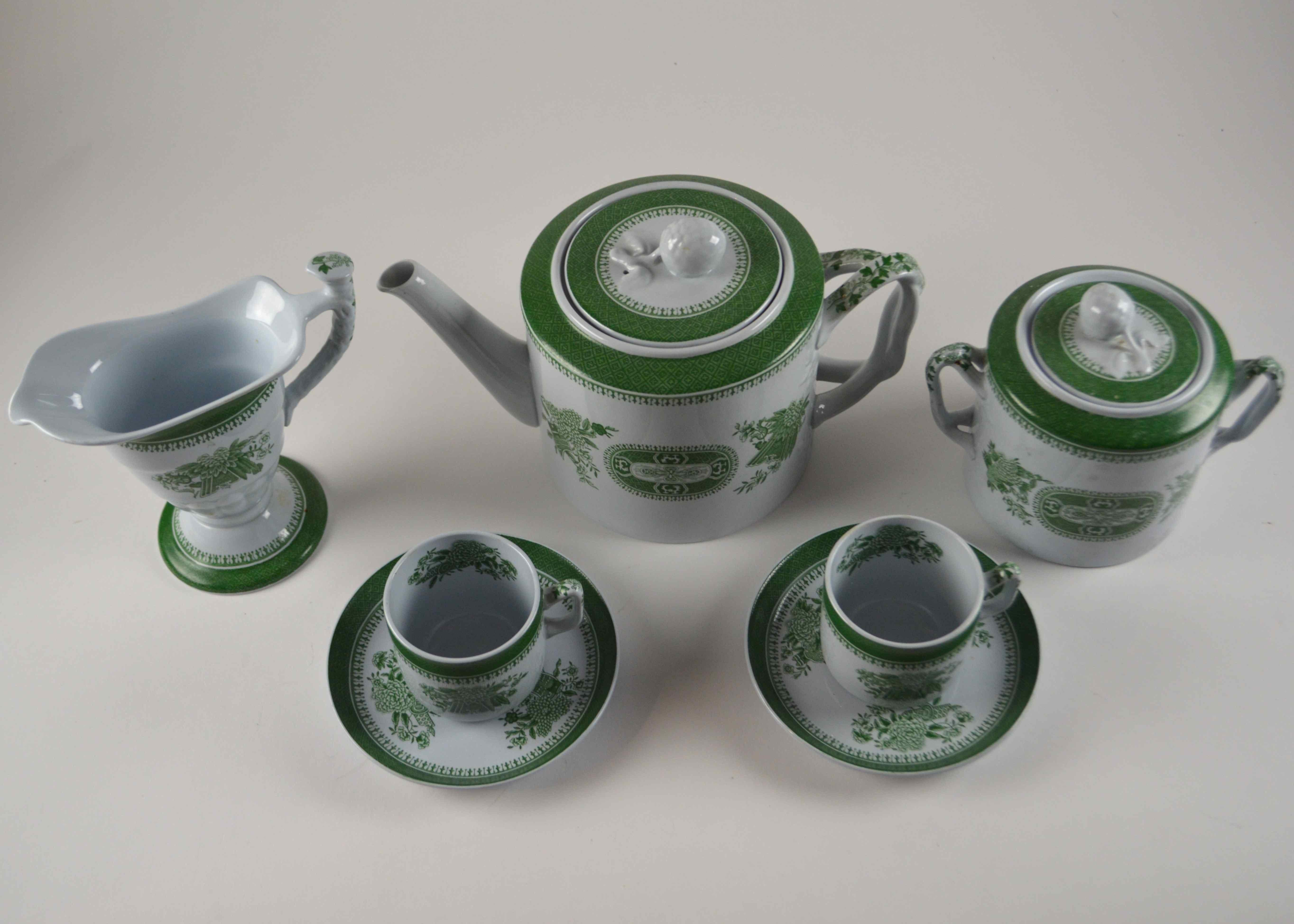 "Green Copeland Spode ""Fitzhugh"" Tea Set"