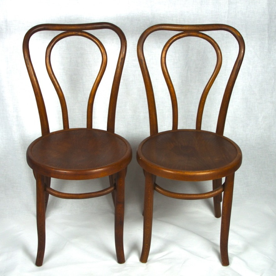 Two Antique Oak Bentwood Bistro Chairs ... - Two Antique Oak Bentwood Bistro Chairs : EBTH