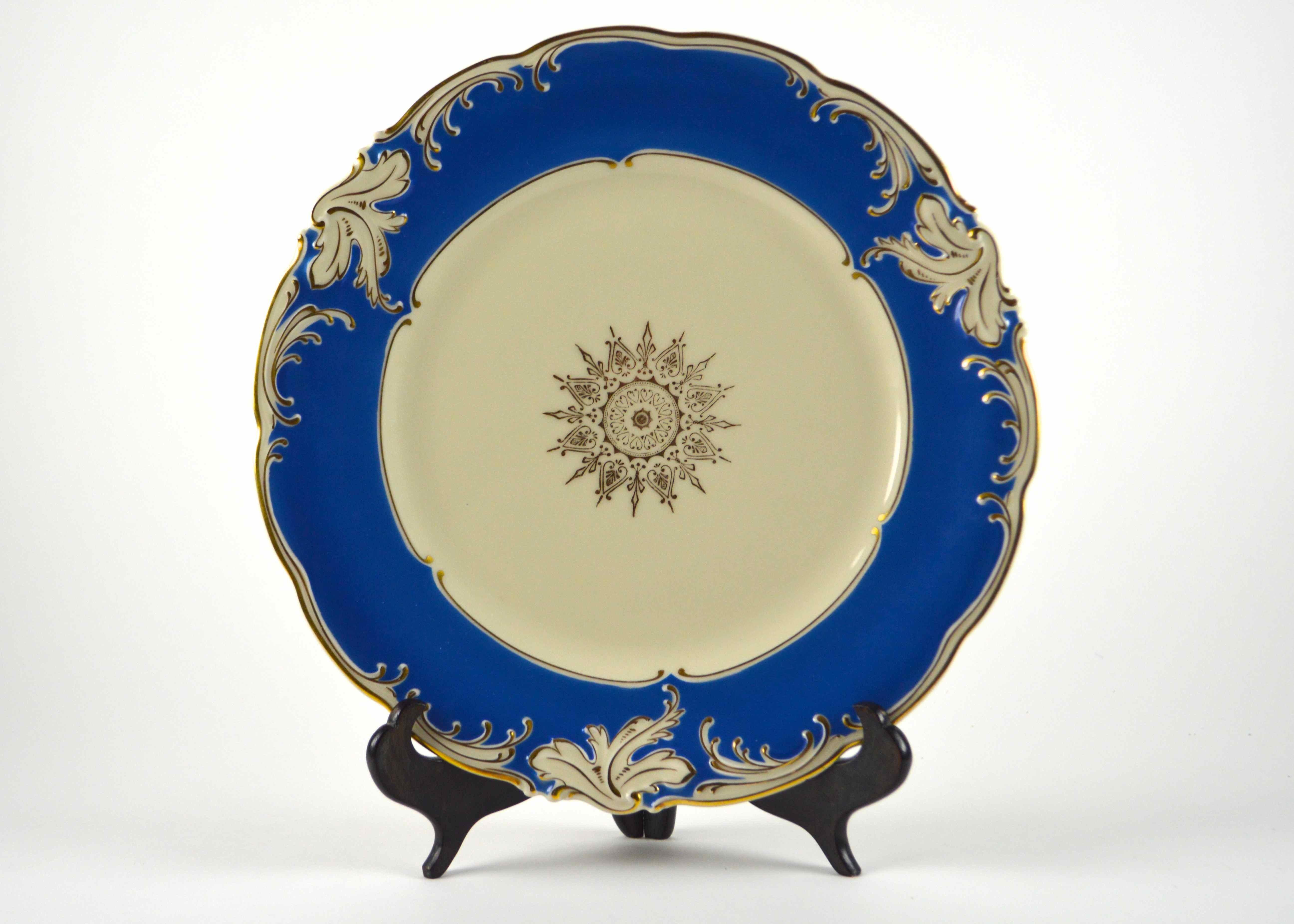 Stunning Set of Twelve Hand-Painted, Gold Trim German Porcelain Plates