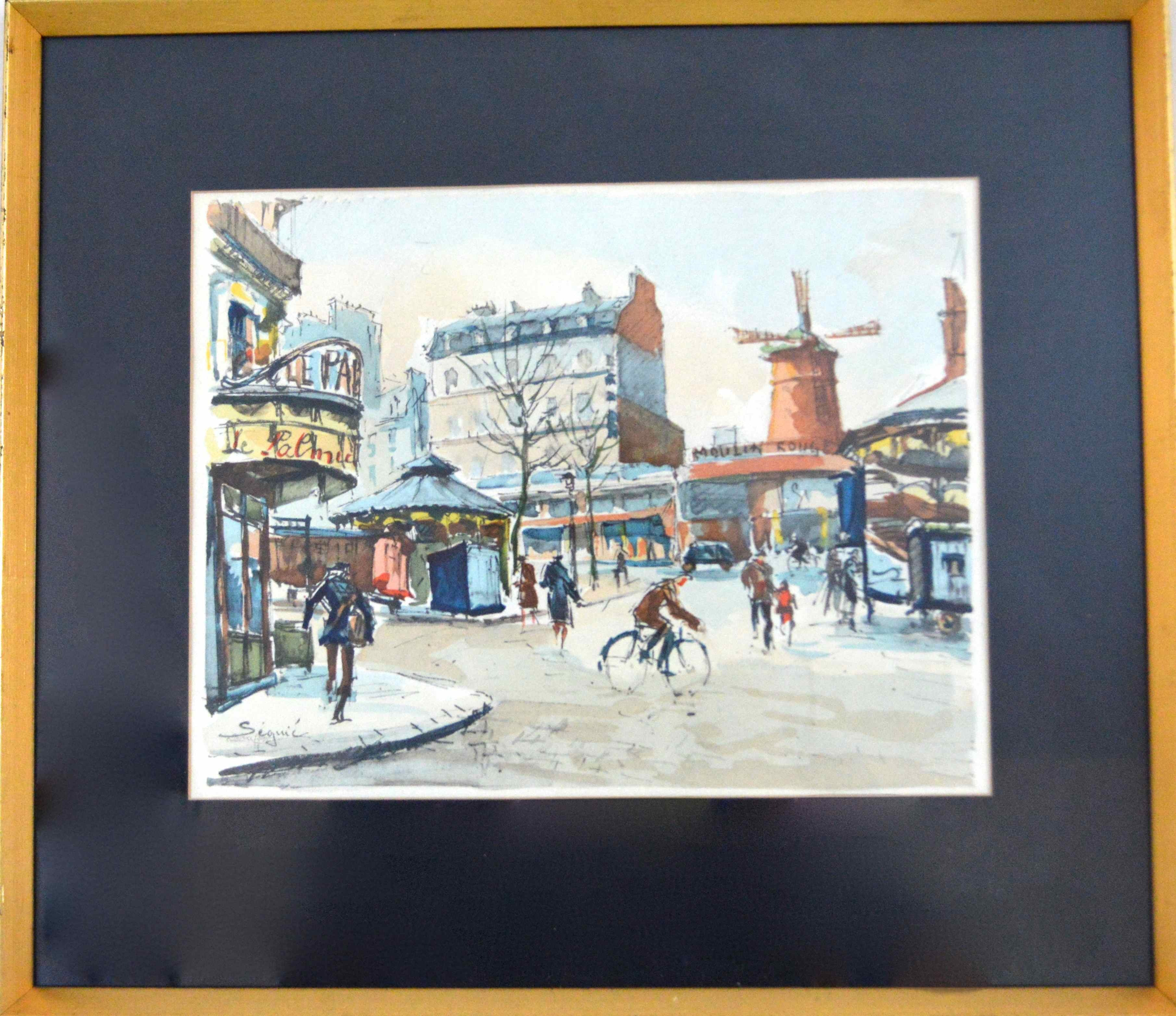 Armand Seguin Print of French Street Scene With the Moulin Rouge