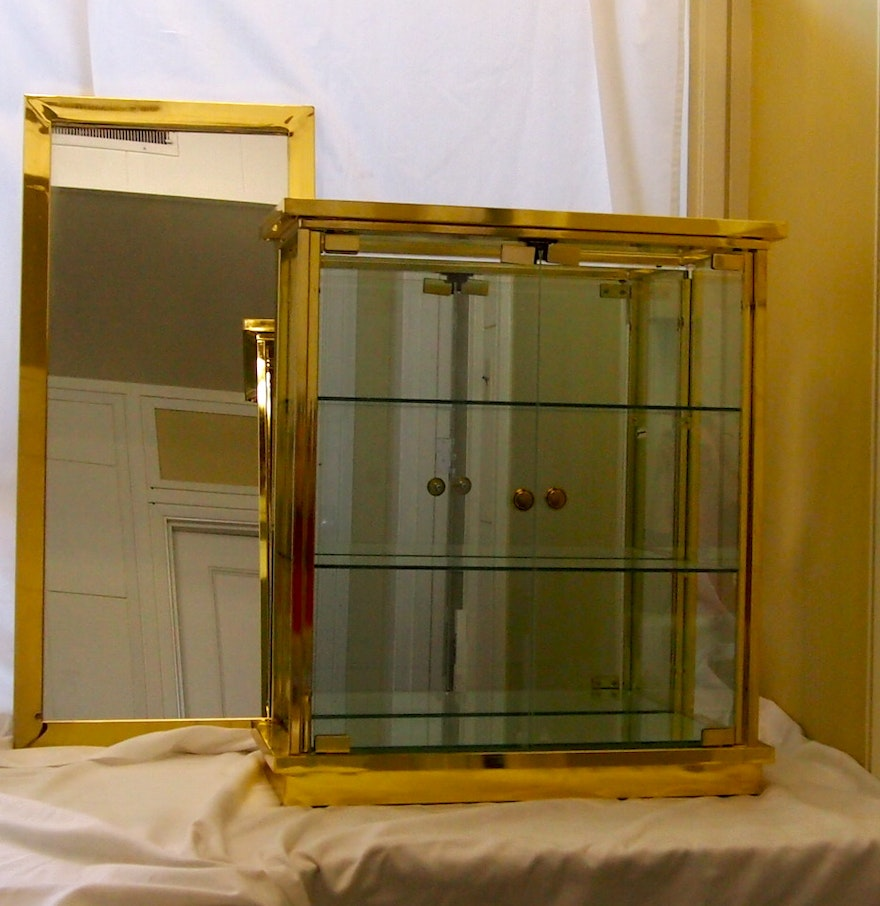 Metal Glass Display Cabinet Gold Metal And Glass Display Cabinet And Mirror Ebth