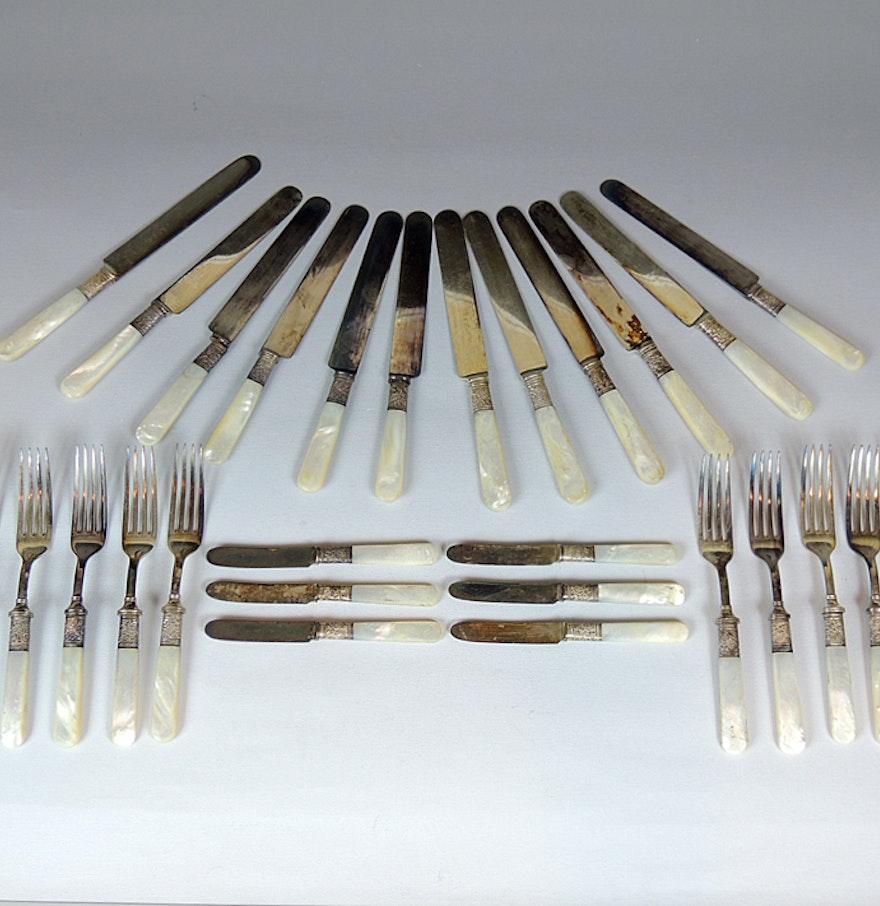 Antique pearl handle flatware by landers frary clark ebth - Pearl handled flatware ...