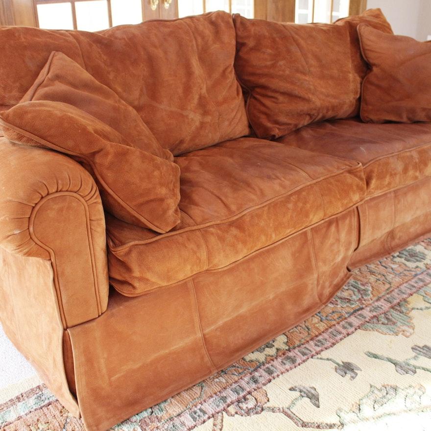 Expressions Custom Furniture Leather Sofa In Cinnamon