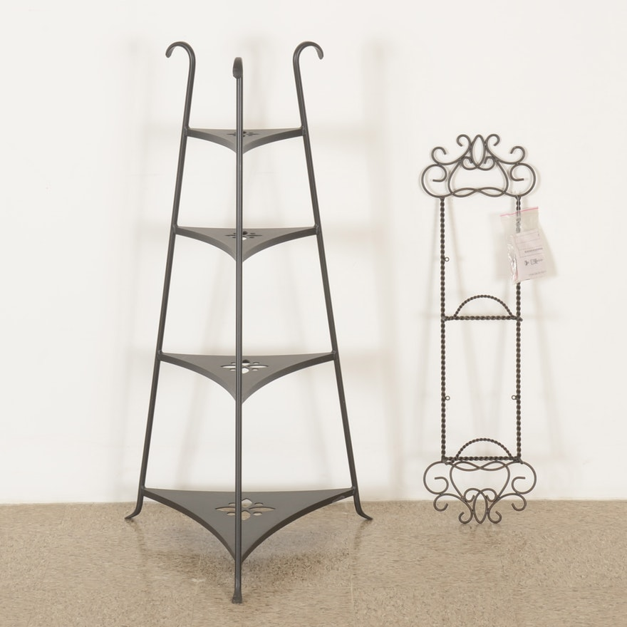 Longaberger Wrought-Iron Corner Shelf with Plate Rack : EBTH