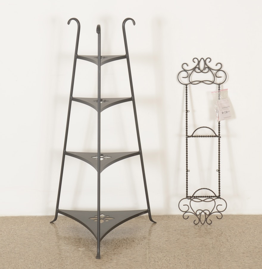 Longaberger Wroughtiron Corner Shelf With Plate Rack