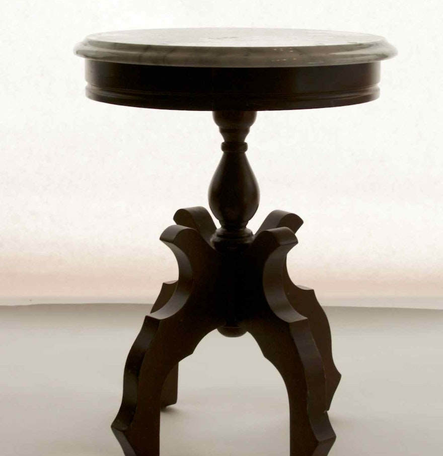 Antique Marble Side Table Reading: Antique Victorian-American Walnut Side Table With Round