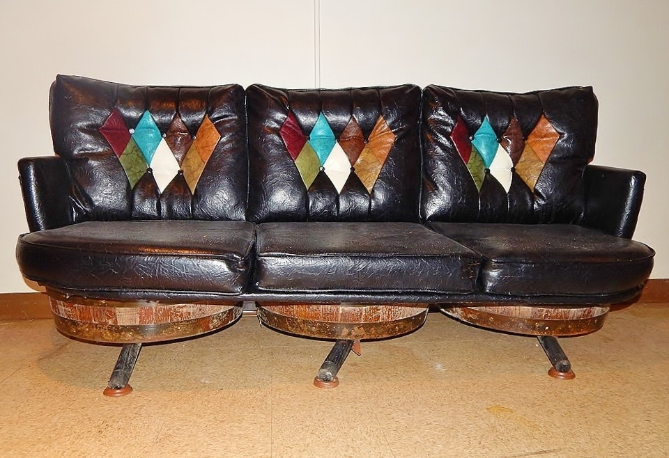 Vintage Leather Look Whiskey Barrel Sofa Ebth