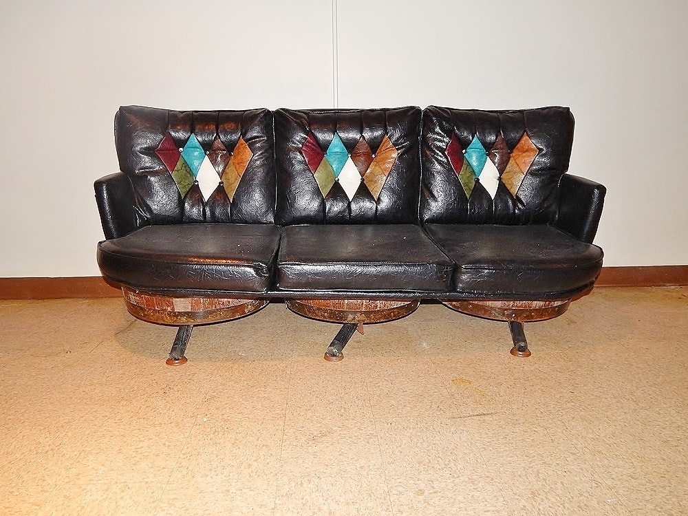 Vintage Leather Look Whiskey Barrel Sofa Ebth
