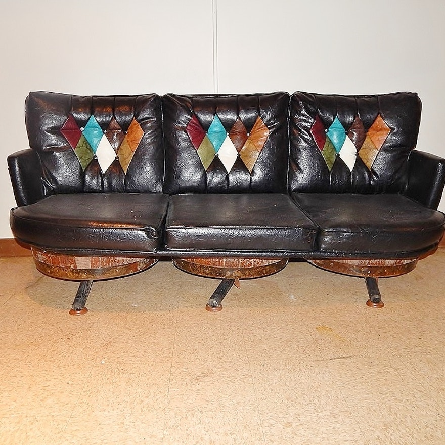 Completely new Vintage Leather-Look Whiskey Barrel Sofa : EBTH RK49