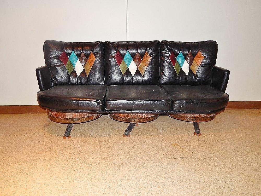 Superb Vintage Leather Look Whiskey Barrel Sofa ...