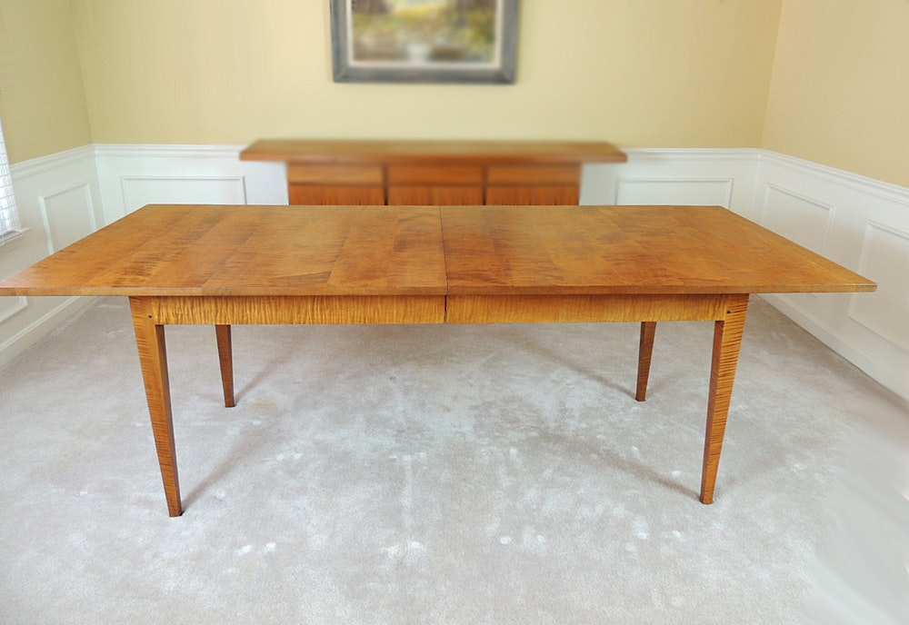 Maple Kitchen Table With Chair And Bench Ebth: David T. Smith Curly Maple Dining Table : EBTH