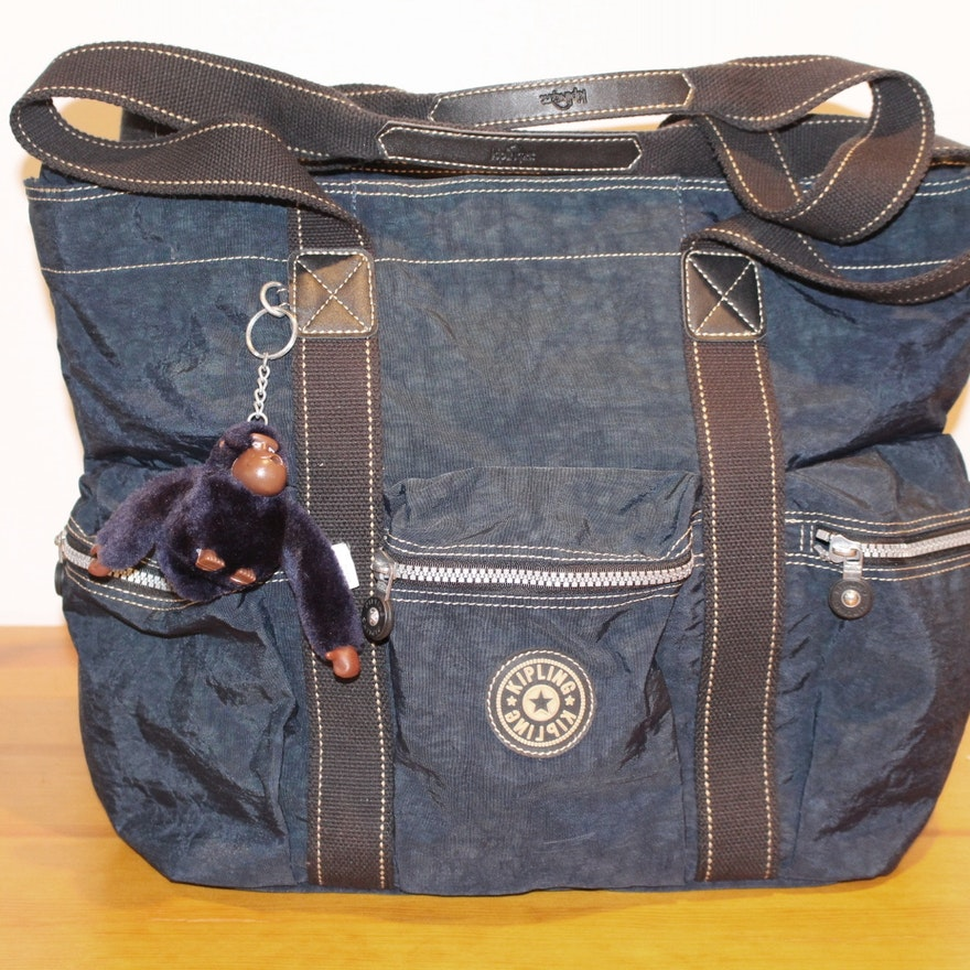 4bf1f2854c7 Kipling Large Navy Tote with Monkey Key Chain : EBTH
