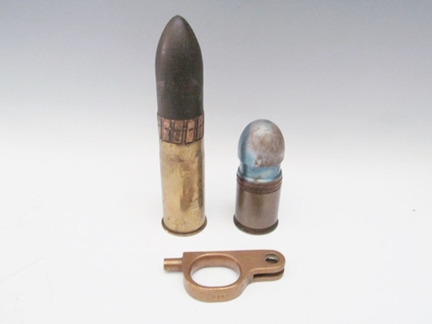 WWI and Recent Artillery Shells and Brass Gun Piece