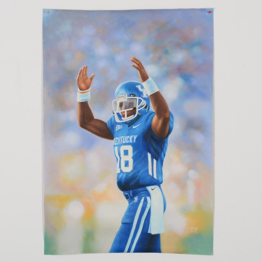 new arrival a42e2 622cd Nice Large Randall Cobb University of Kentucky Football Oil Painting On  Canvas